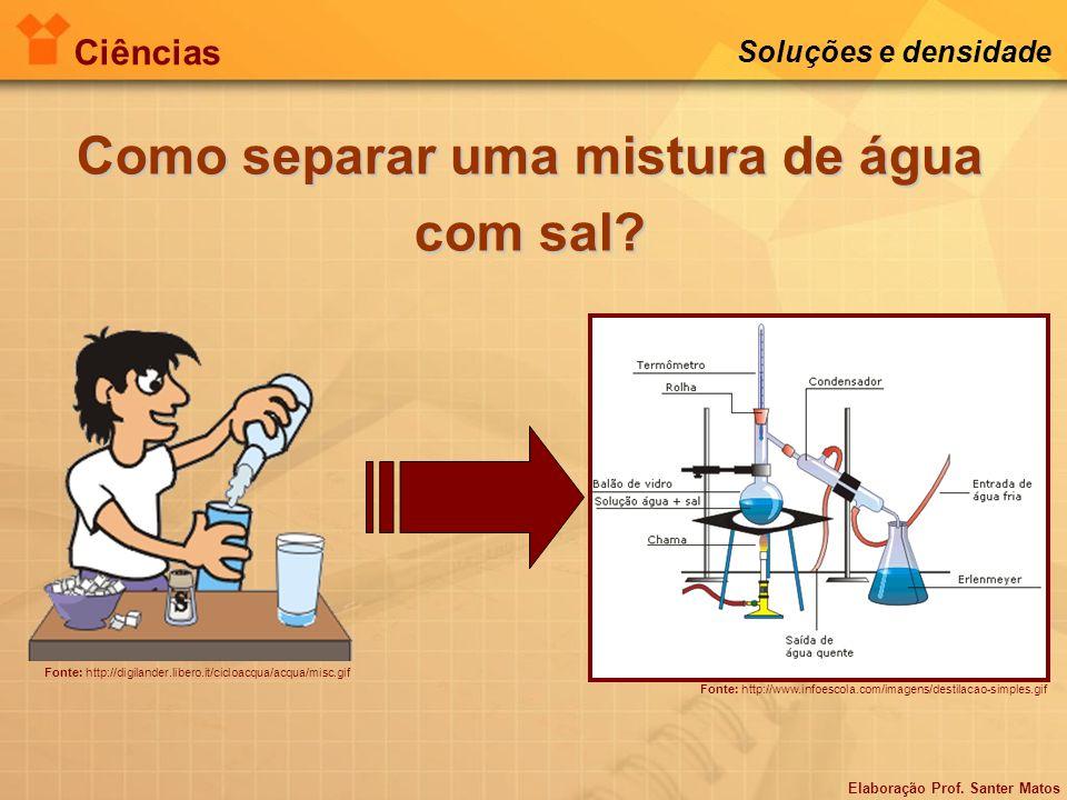 Elaboração Prof. Santer Matos Ciências Soluções e densidade Como separar uma mistura de água com sal? Fonte: http://digilander.libero.it/cicloacqua/ac
