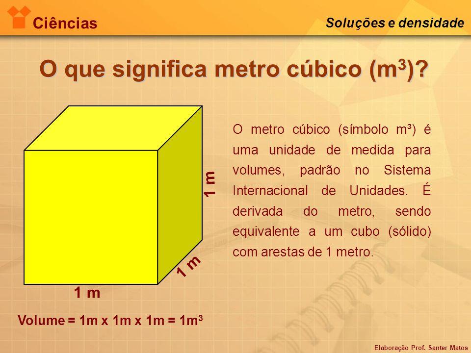 Elaboração Prof. Santer Matos Ciências Soluções e densidade O que significa metro cúbico (m 3 )? 1 m O metro cúbico (símbolo m³) é uma unidade de medi