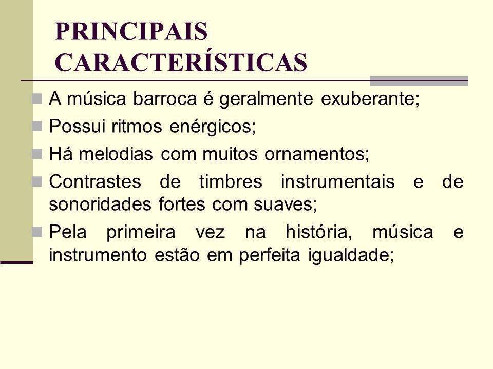Nesse período a instrumentação atinge sua primeira maturidade e grande florescimento; Pela primeira vez surgem gêneros musicais puramente instrumentais, como a suíte e o concerto; Nesta época surge também o virtuosismo, que explora ao máximo o instrumento musical; Desenvolvimento extenso do uso da polifonia e contraponto;