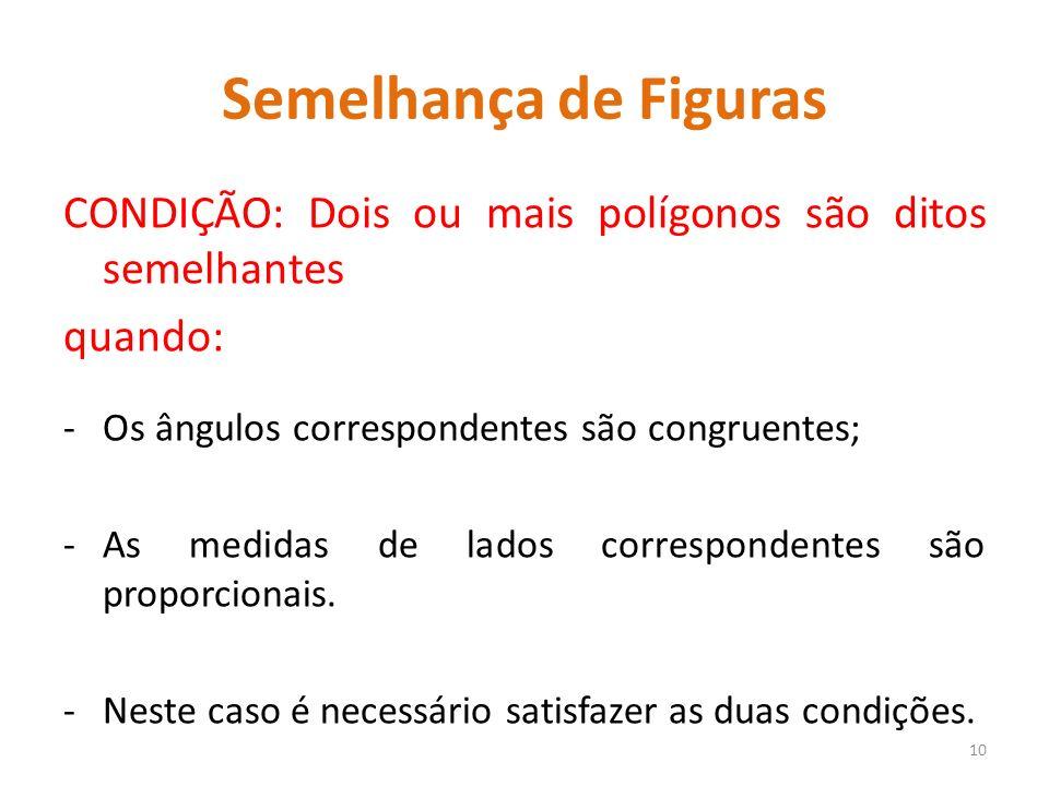 Semelhança de Figuras CONDIÇÃO: Dois ou mais polígonos são ditos semelhantes quando: -Os ângulos correspondentes são congruentes; -As medidas de lados