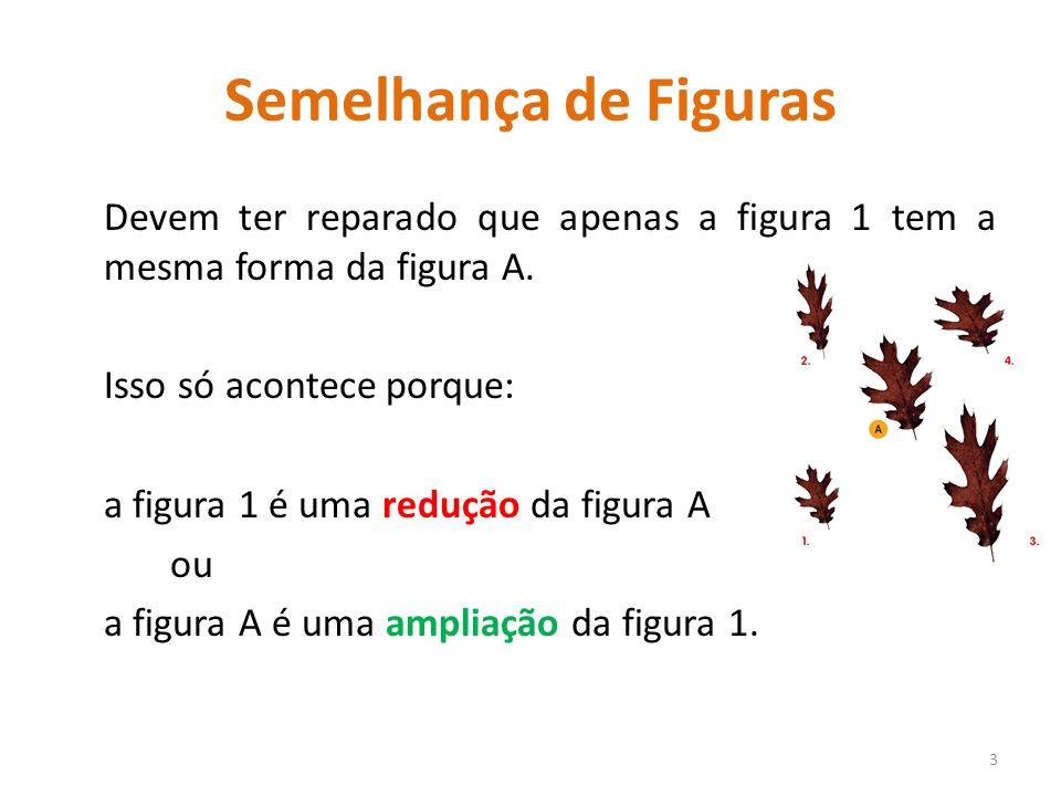 Semelhança de Figuras Devem ter reparado que apenas a figura 1 tem a mesma forma da figura A. Isso só acontece porque: a figura 1 é uma redução da fig