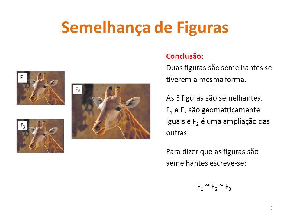 Semelhança de Figuras Conclusão: Duas figuras são semelhantes se tiverem a mesma forma. As 3 figuras são semelhantes. F 1 e F 3 são geometricamente ig