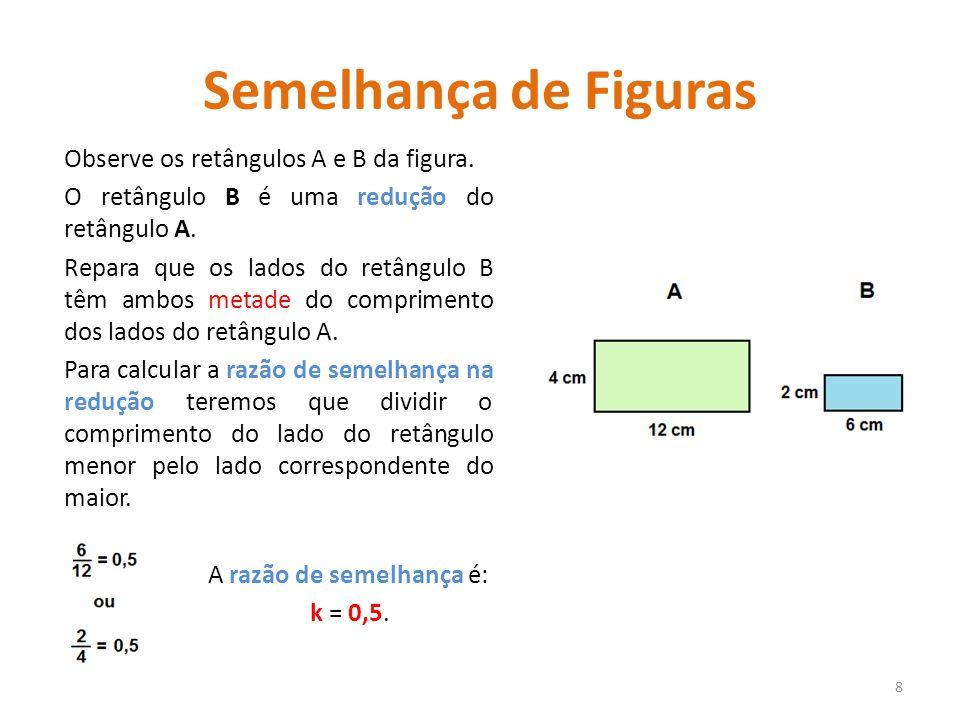 Semelhança de Figuras Observe os retângulos A e B da figura. O retângulo B é uma redução do retângulo A. Repara que os lados do retângulo B têm ambos