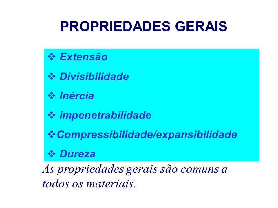 PROPRIEDADES DA MATÉRIA PROPRIEDADES GERAIS PROPRIEDADES ESPECÍFICAS: