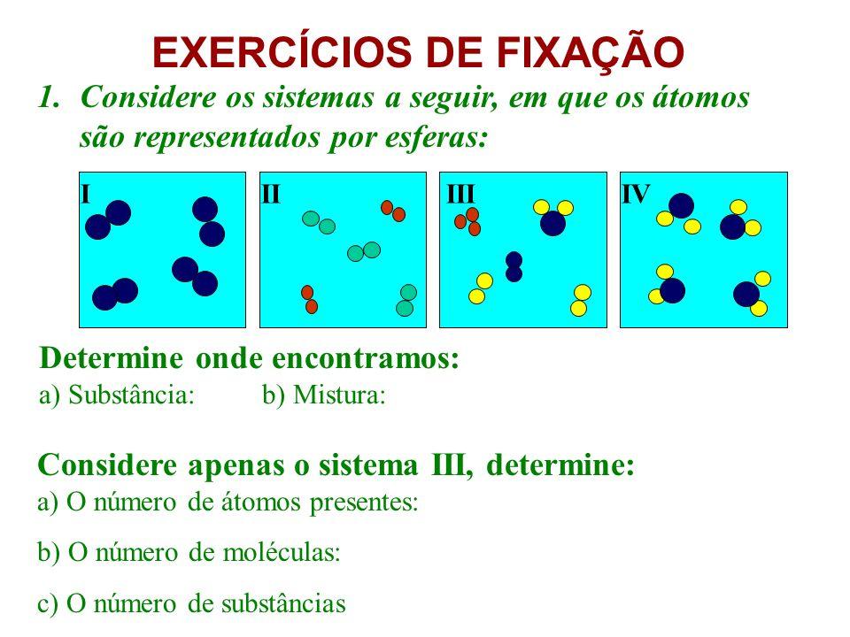 EXERCÍCIOS DE FIXAÇÃO 1.Considere os sistemas a seguir, em que os átomos são representados por esferas: Determine onde encontramos: a) Substância: b) Mistura: Considere apenas o sistema III, determine: a) O número de átomos presentes: b) O número de moléculas: c) O número de substâncias I II III IV