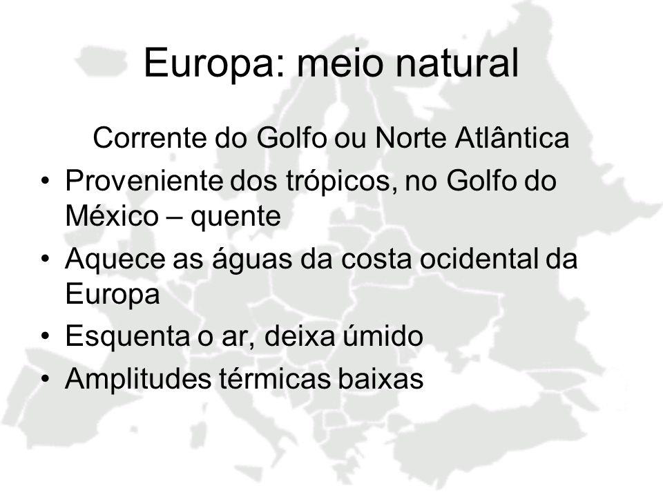 Europa: meio natural Corrente do Golfo ou Norte Atlântica Proveniente dos trópicos, no Golfo do México – quente Aquece as águas da costa ocidental da