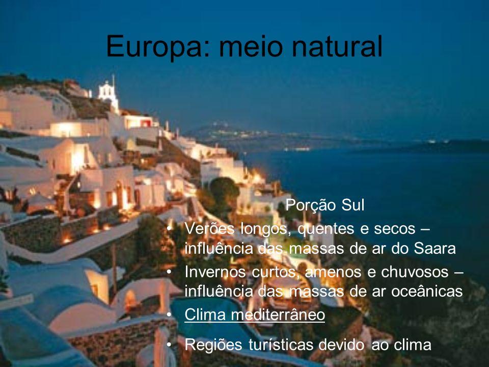 Europa: meio natural Porção Sul Verões longos, quentes e secos – influência das massas de ar do Saara Invernos curtos, amenos e chuvosos – influência
