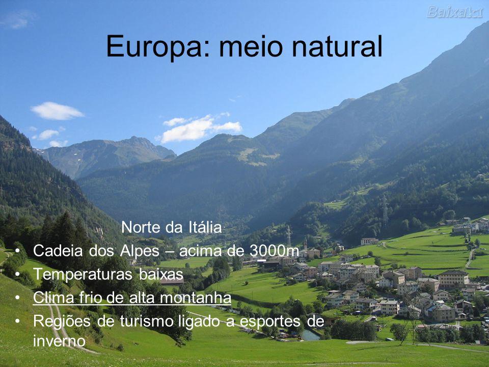 Europa: meio natural Norte da Itália Cadeia dos Alpes – acima de 3000m Temperaturas baixas Clima frio de alta montanha Regiões de turismo ligado a esp