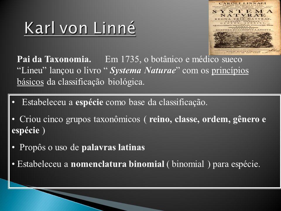 Systema Naturae Pai da Taxonomia. Em 1735, o botânico e médico sueco Lineu lançou o livro Systema Naturae com os princípios básicos da classificação b