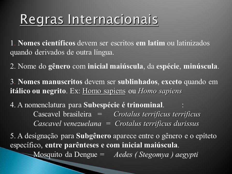 1. Nomes científicos devem ser escritos em latim ou latinizados quando derivados de outra língua. 2. Nome do gênero com inicial maiúscula, da espécie,