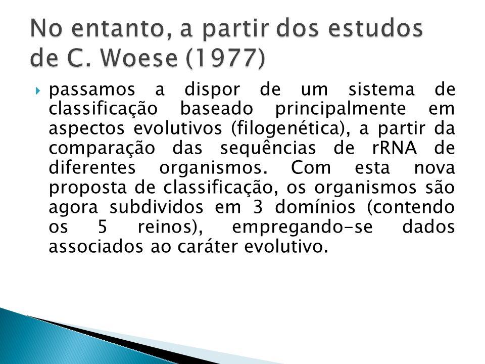 passamos a dispor de um sistema de classificação baseado principalmente em aspectos evolutivos (filogenética), a partir da comparação das sequências d