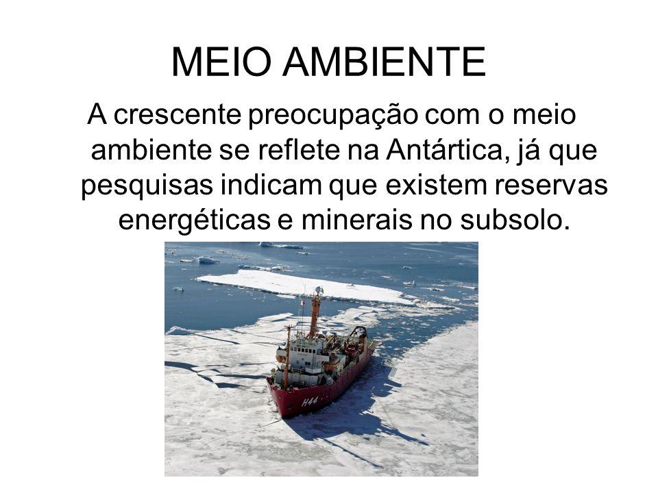 MEIO AMBIENTE A crescente preocupação com o meio ambiente se reflete na Antártica, já que pesquisas indicam que existem reservas energéticas e minerai
