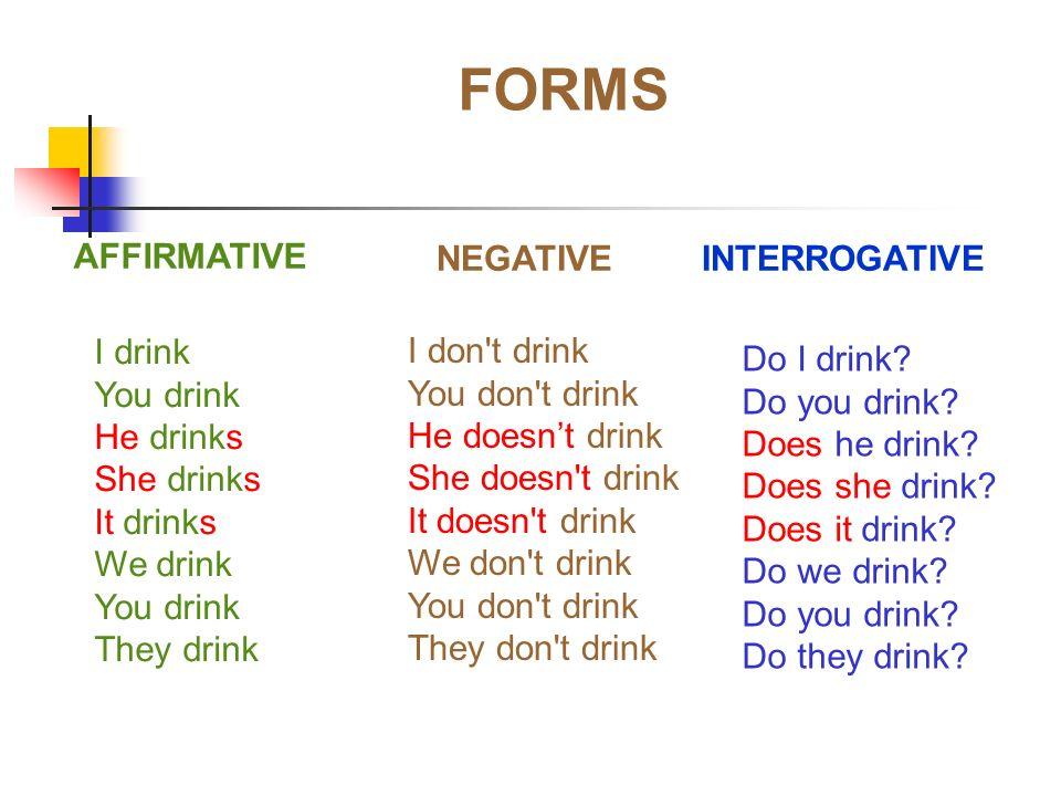 FORMS AFFIRMATIVE NEGATIVE INTERROGATIVE I drink You drink He drinks She drinks It drinks We drink You drink They drink I don't drink You don't drink