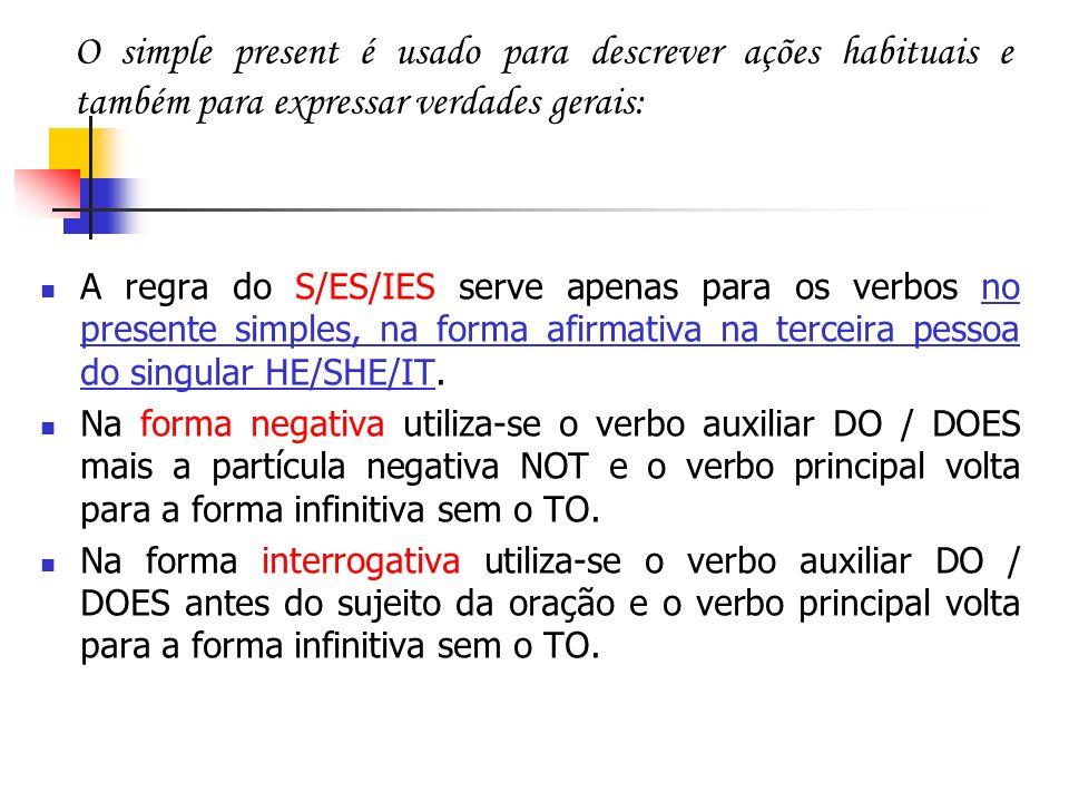 A regra do S/ES/IES serve apenas para os verbos no presente simples, na forma afirmativa na terceira pessoa do singular HE/SHE/IT. Na forma negativa u