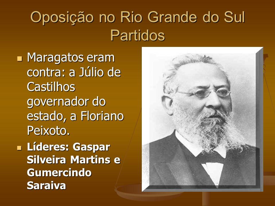 Oposição no Rio Grande do Sul Partidos Maragatos eram contra: a Júlio de Castilhos governador do estado, a Floriano Peixoto. Maragatos eram contra: a
