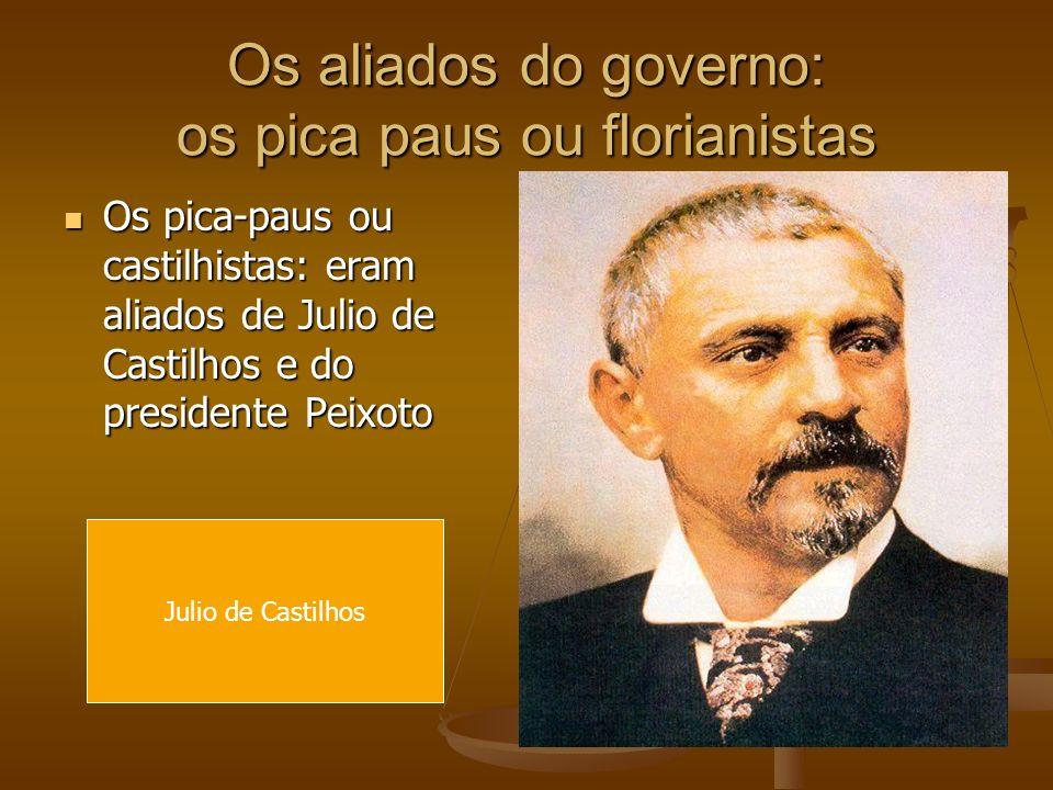 Os aliados do governo: os pica paus ou florianistas Os pica-paus ou castilhistas: eram aliados de Julio de Castilhos e do presidente Peixoto Os pica-p