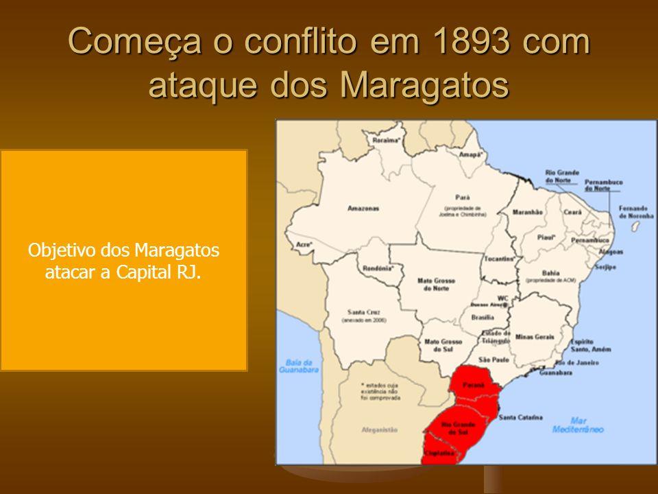Começa o conflito em 1893 com ataque dos Maragatos Objetivo dos Maragatos atacar a Capital RJ.