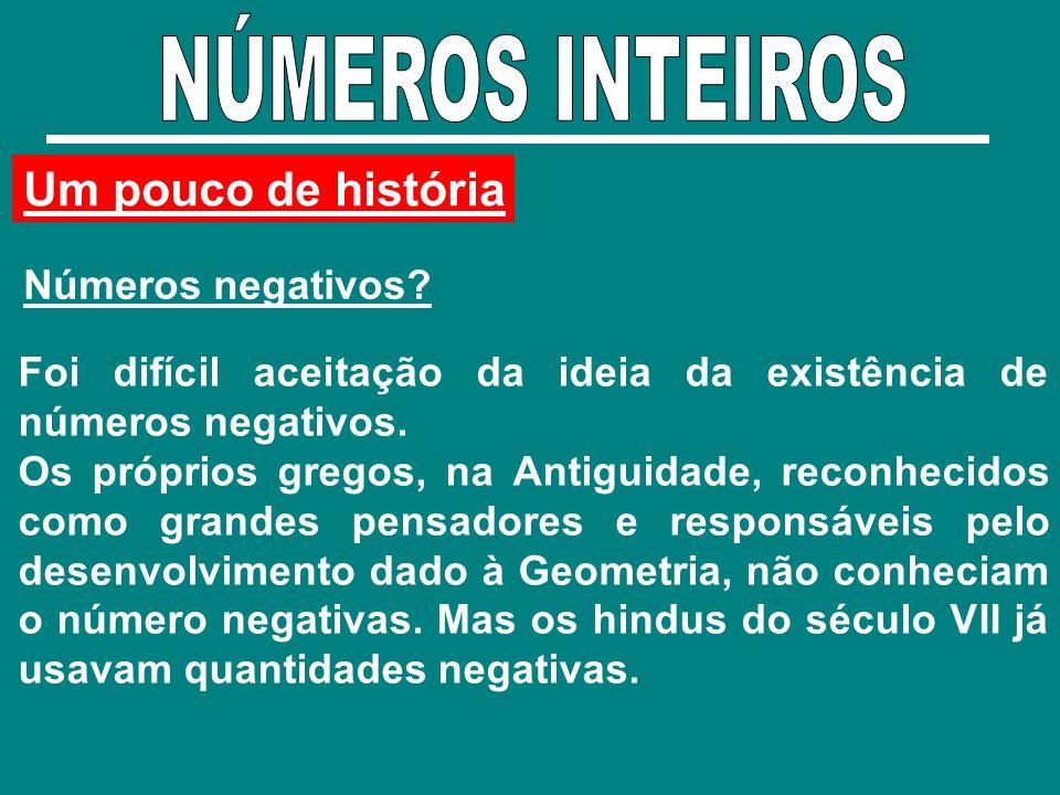 Um pouco de história Números negativos? Foi difícil aceitação da ideia da existência de números negativos. Os próprios gregos, na Antiguidade, reconhe