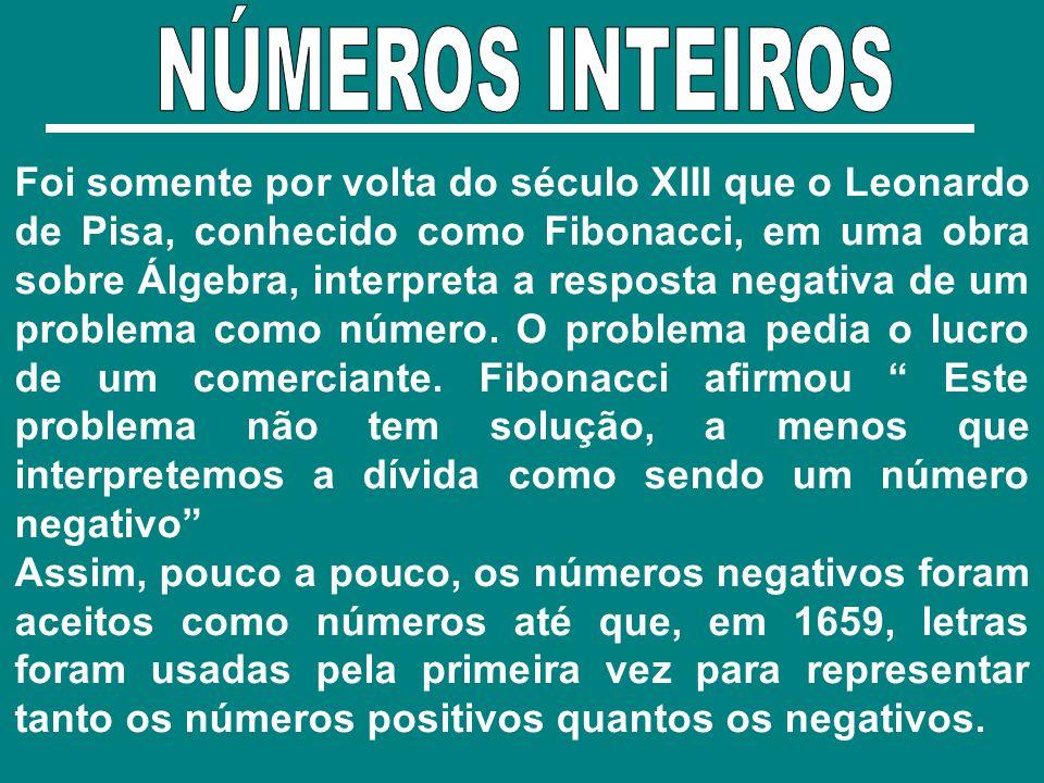Foi somente por volta do século XIII que o Leonardo de Pisa, conhecido como Fibonacci, em uma obra sobre Álgebra, interpreta a resposta negativa de um