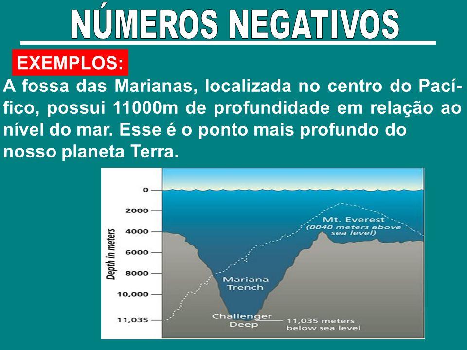 EXEMPLOS: A fossa das Marianas, localizada no centro do Pací- fico, possui 11000m de profundidade em relação ao nível do mar. Esse é o ponto mais prof