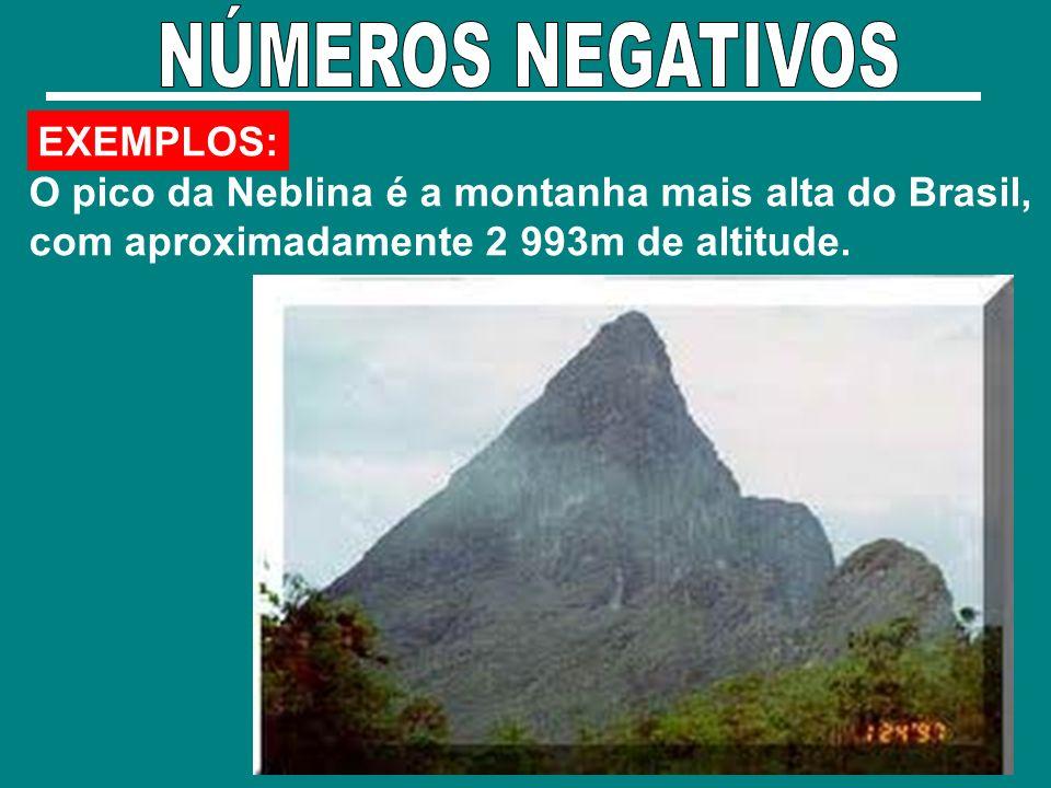 EXEMPLOS: O pico da Neblina é a montanha mais alta do Brasil, com aproximadamente 2 993m de altitude.