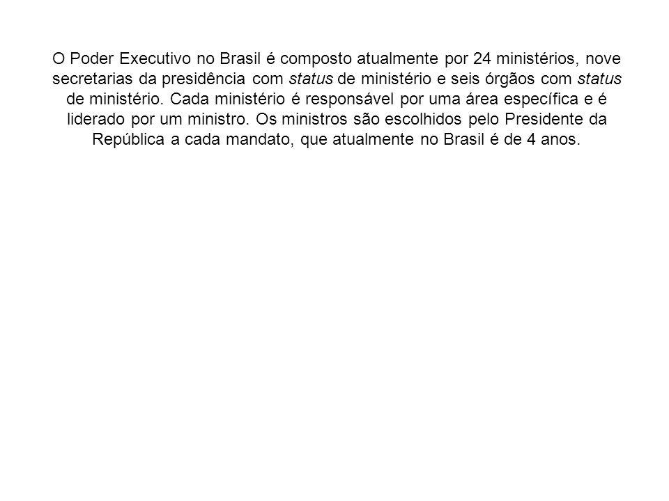 O Poder Executivo no Brasil é composto atualmente por 24 ministérios, nove secretarias da presidência com status de ministério e seis órgãos com statu