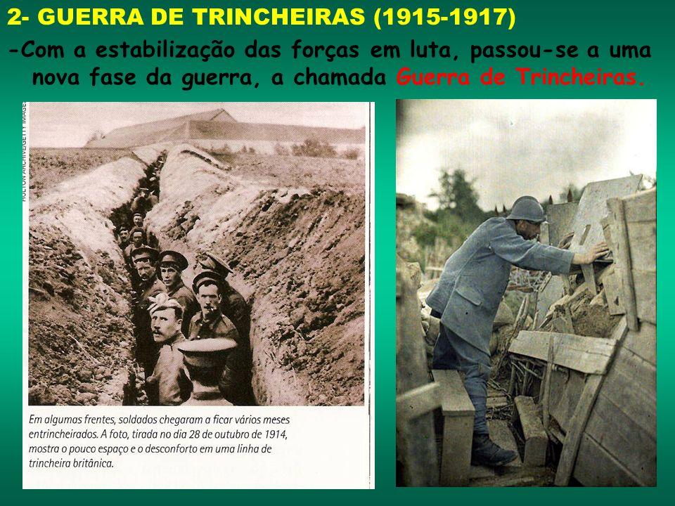 2- GUERRA DE TRINCHEIRAS (1915-1917) -Com a estabilização das forças em luta, passou-se a uma nova fase da guerra, a chamada Guerra de Trincheiras.