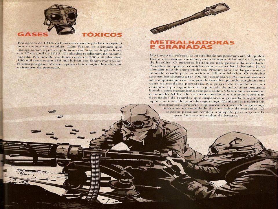 -Os aviões eram biplanos, e carregava três tripulantes, armados co metralhadoras e bombas.Outro tipo de arma aérea era o dirigível,usado para bombardear cidades com o objetivo de abalar o moral das populações.