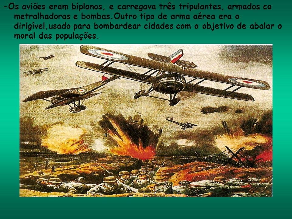 -Os aviões eram biplanos, e carregava três tripulantes, armados co metralhadoras e bombas.Outro tipo de arma aérea era o dirigível,usado para bombarde