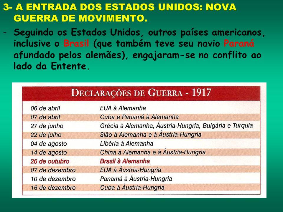 3- A ENTRADA DOS ESTADOS UNIDOS: NOVA GUERRA DE MOVIMENTO. -Seguindo os Estados Unidos, outros países americanos, inclusive o Brasil (que também teve