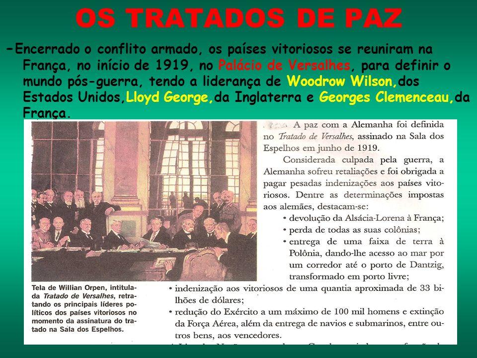 OS TRATADOS DE PAZ - Encerrado o conflito armado, os países vitoriosos se reuniram na França, no início de 1919, no Palácio de Versalhes, para definir