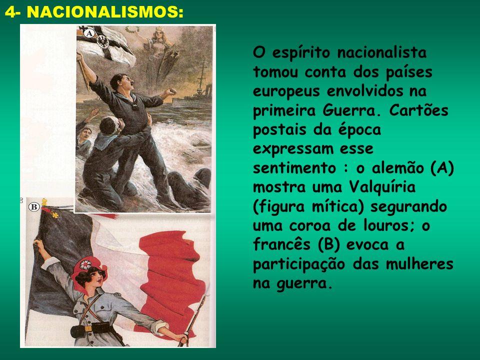 4- NACIONALISMOS: O espírito nacionalista tomou conta dos países europeus envolvidos na primeira Guerra. Cartões postais da época expressam esse senti