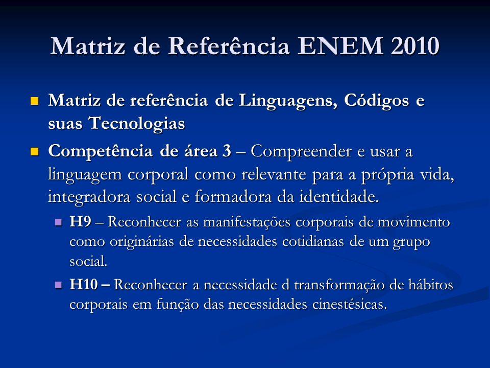 Matriz de Referência ENEM 2010 Matriz de referência de Linguagens, Códigos e suas Tecnologias Matriz de referência de Linguagens, Códigos e suas Tecnologias Competência de área 3 – Compreender e usar a linguagem corporal como relevante para a própria vida, integradora social e formadora da identidade.