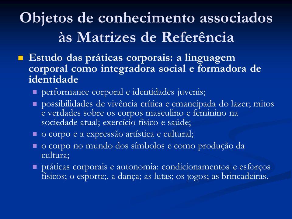 Objetos de conhecimento associados às Matrizes de Referência Estudo das práticas corporais: a linguagem corporal como integradora social e formadora d