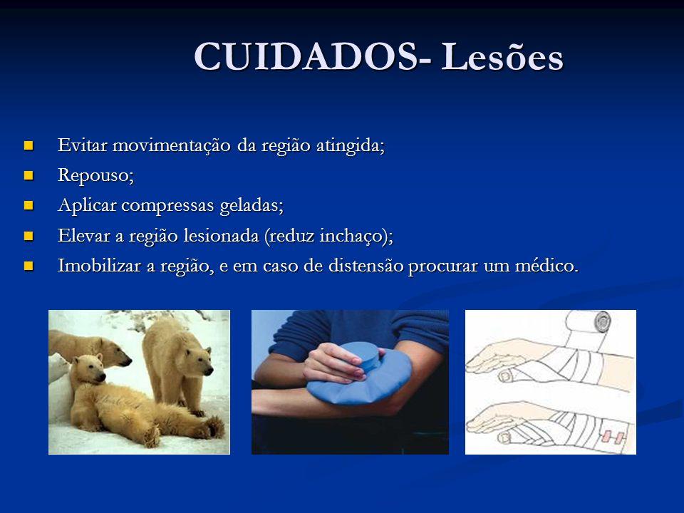 CUIDADOS- Lesões CUIDADOS- Lesões Evitar movimentação da região atingida; Evitar movimentação da região atingida; Repouso; Repouso; Aplicar compressas
