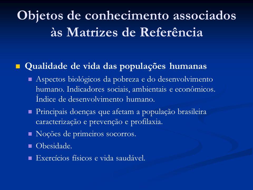 Objetos de conhecimento associados às Matrizes de Referência Qualidade de vida das populações humanas Aspectos biológicos da pobreza e do desenvolvimento humano.