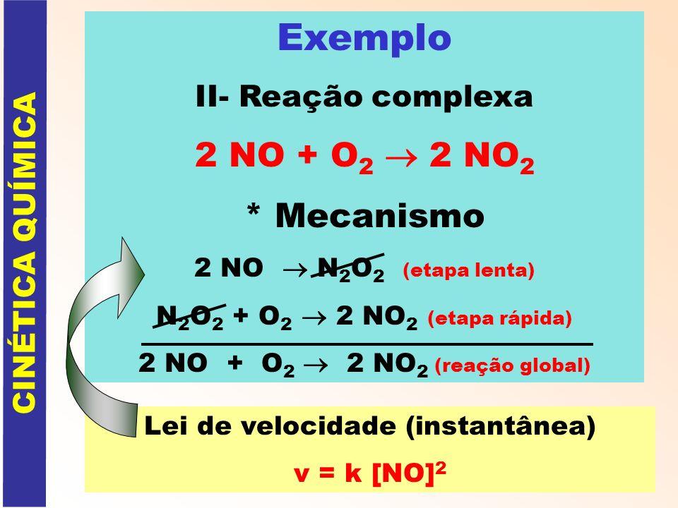 Exemplo II- Reação complexa 2 NO + O 2 2 NO 2 * Mecanismo 2 NO N 2 O 2 (etapa lenta) N 2 O 2 + O 2 2 NO 2 (etapa rápida) 2 NO + O 2 2 NO 2 (reação glo