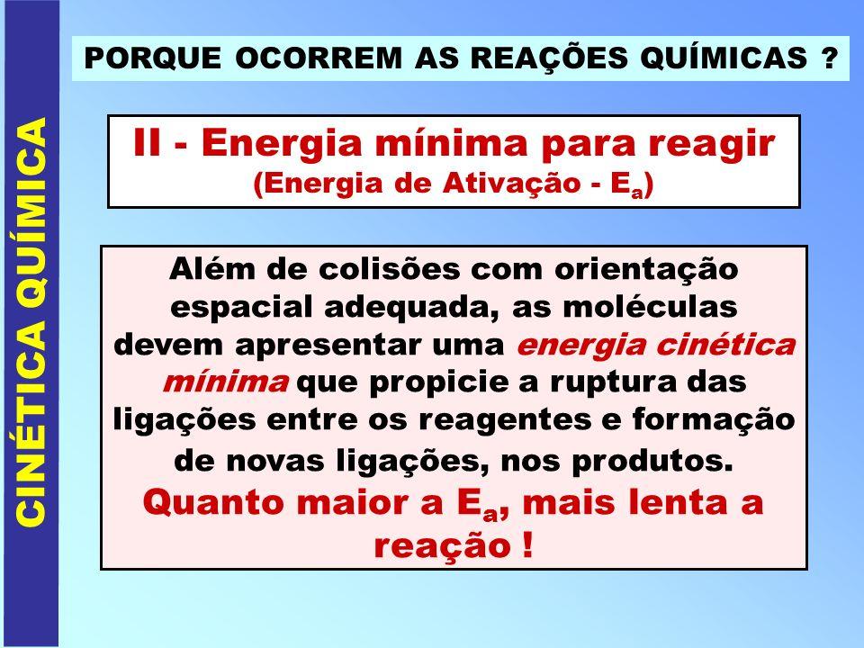 PORQUE OCORREM AS REAÇÕES QUÍMICAS ? II - Energia mínima para reagir (Energia de Ativação - E a ) CINÉTICA QUÍMICA Além de colisões com orientação esp