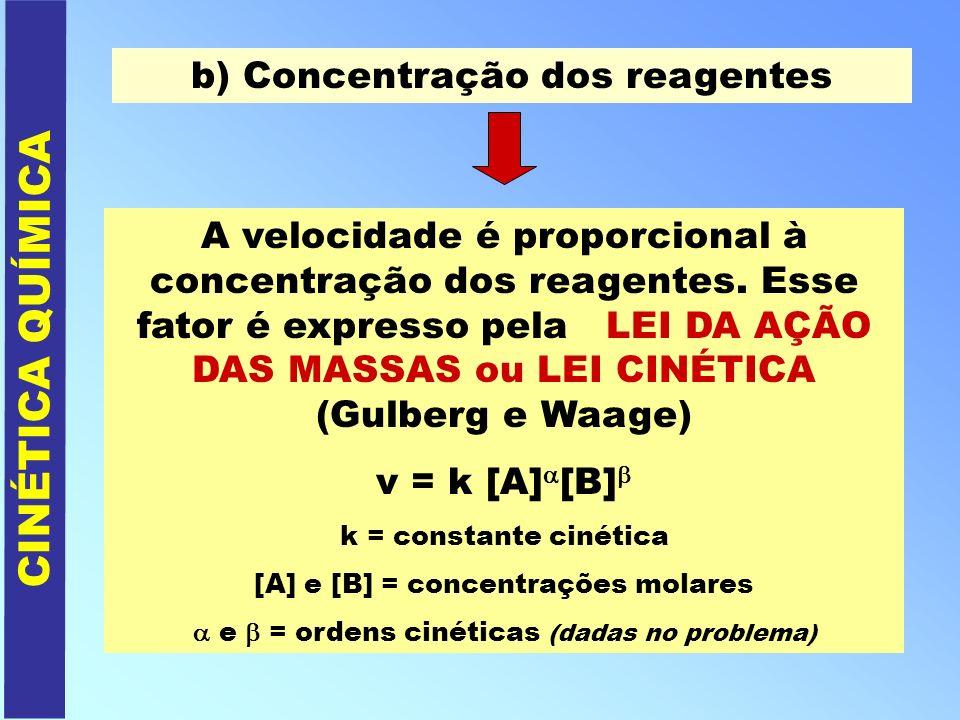 CINÉTICA QUÍMICA b) Concentração dos reagentes A velocidade é proporcional à concentração dos reagentes. Esse fator é expresso pela LEI DA AÇÃO DAS MA