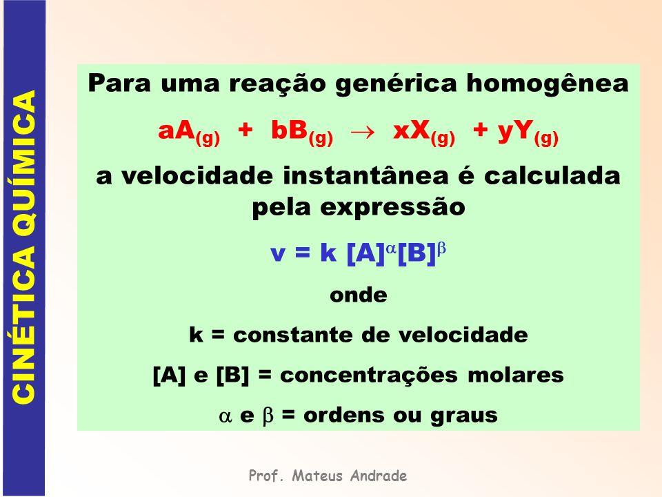 Para uma reação genérica homogênea aA (g) + bB (g) xX (g) + yY (g) a velocidade instantânea é calculada pela expressão v = k [A] [B] onde k = constant