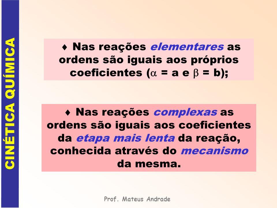 Nas reações elementares as ordens são iguais aos próprios coeficientes ( = a e = b); Nas reações complexas as ordens são iguais aos coeficientes da et