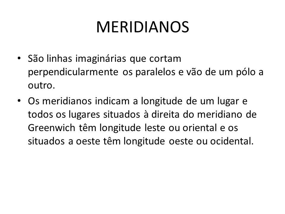 MERIDIANOS São linhas imaginárias que cortam perpendicularmente os paralelos e vão de um pólo a outro. Os meridianos indicam a longitude de um lugar e