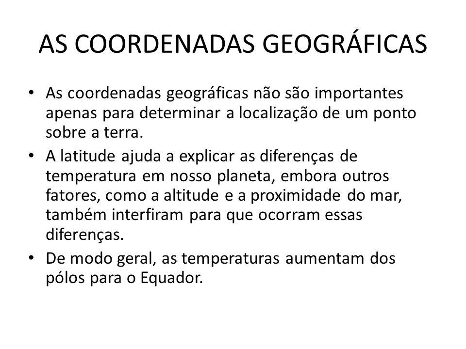 AS COORDENADAS GEOGRÁFICAS As coordenadas geográficas não são importantes apenas para determinar a localização de um ponto sobre a terra. A latitude a