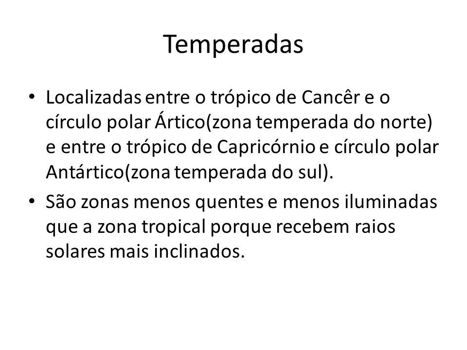 Temperadas Localizadas entre o trópico de Cancêr e o círculo polar Ártico(zona temperada do norte) e entre o trópico de Capricórnio e círculo polar An