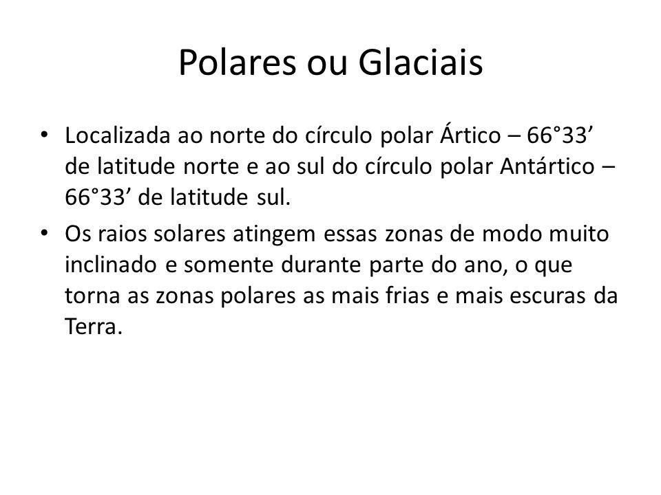 Polares ou Glaciais Localizada ao norte do círculo polar Ártico – 66°33 de latitude norte e ao sul do círculo polar Antártico – 66°33 de latitude sul.