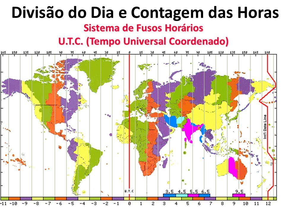 Divisão do Dia e Contagem das Horas Sistema de Fusos Horários U.T.C. (Tempo Universal Coordenado)