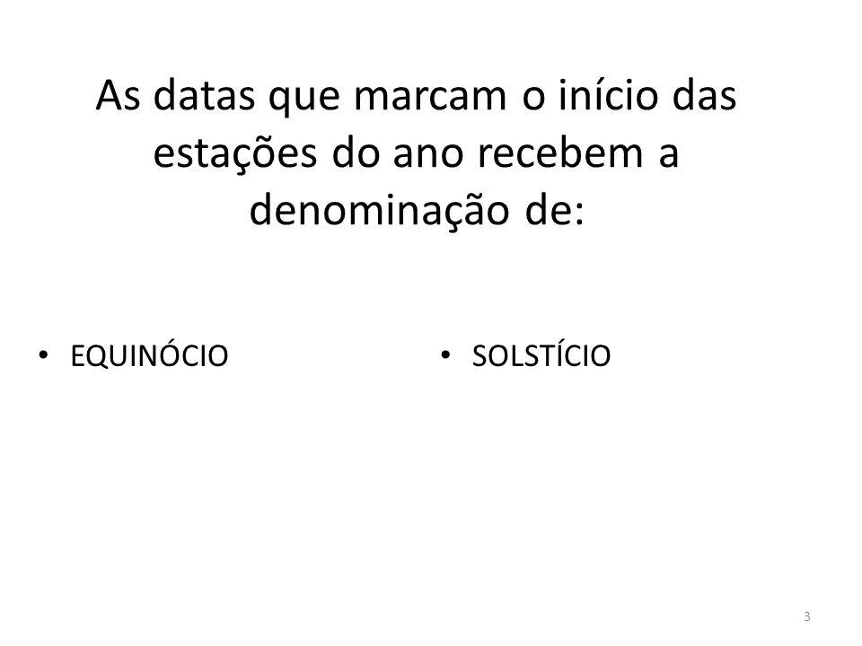 3 As datas que marcam o início das estações do ano recebem a denominação de: EQUINÓCIO SOLSTÍCIO