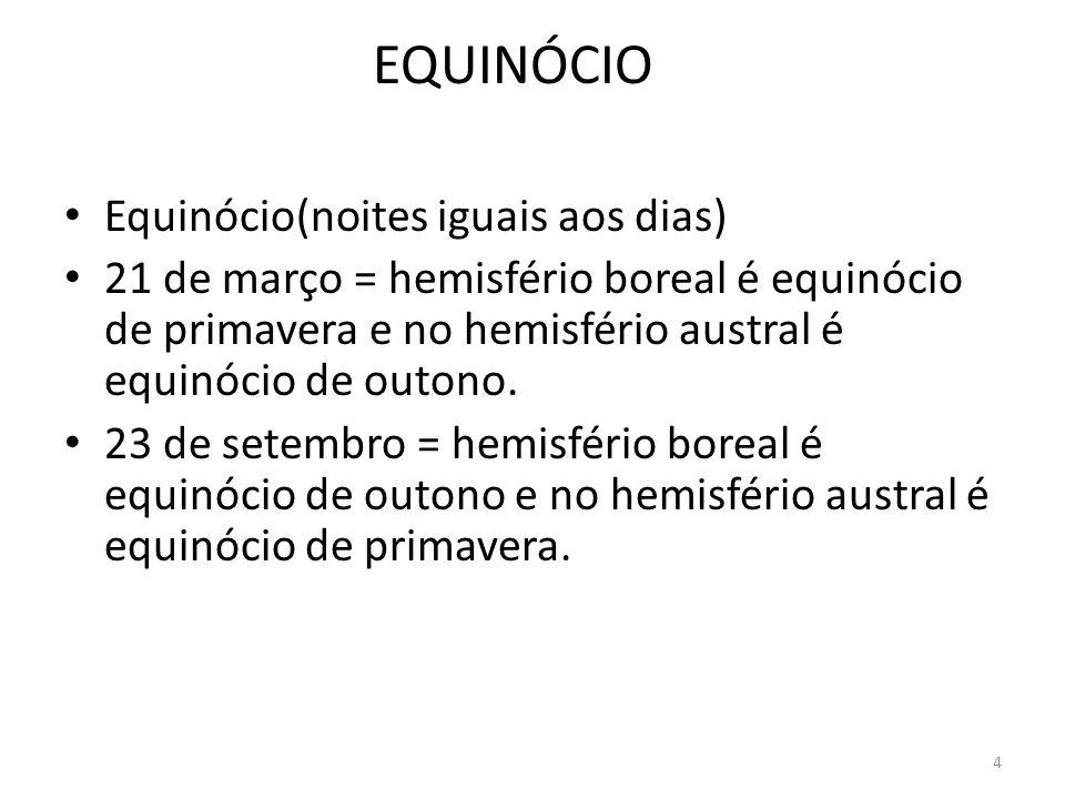 4 EQUINÓCIO Equinócio(noites iguais aos dias) 21 de março = hemisfério boreal é equinócio de primavera e no hemisfério austral é equinócio de outono.