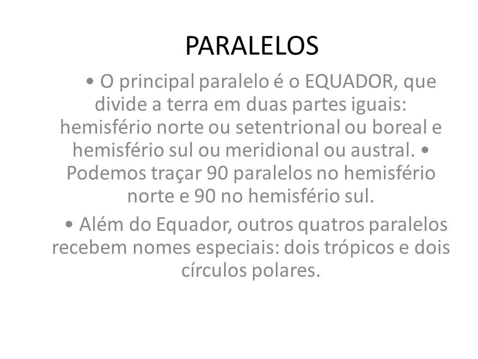 PARALELOS O principal paralelo é o EQUADOR, que divide a terra em duas partes iguais: hemisfério norte ou setentrional ou boreal e hemisfério sul ou m