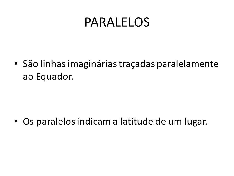 PARALELOS São linhas imaginárias traçadas paralelamente ao Equador. Os paralelos indicam a latitude de um lugar.